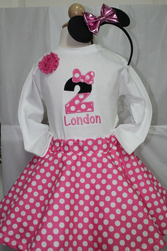 Girl 2nd Birthday OutfitMinnie Mouse Inspired Second OutfitPersonalized Girls Shirt