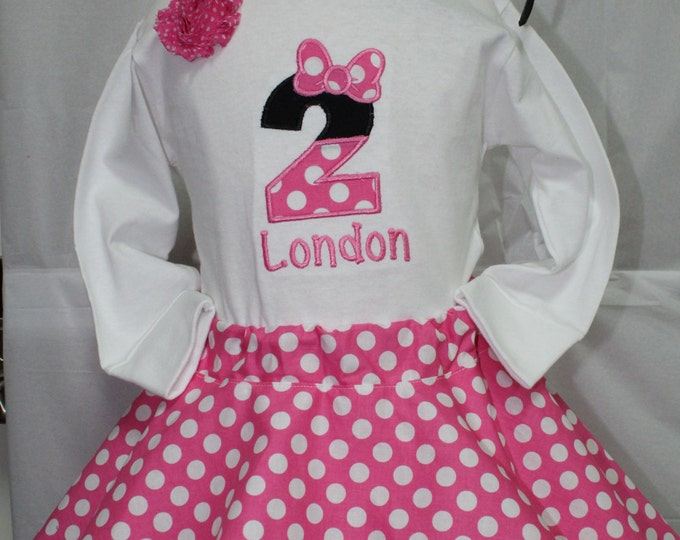 Girl 2nd birthday outfit,Minnie Mouse inspired second birthday outfit,Personalized girls birthday shirt,Hot Pink and white polka dot skirt