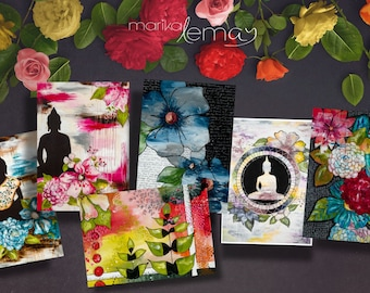 Buddha card set with flowers by mixed media artist Marika Lemay floral zen and modern greeting cards
