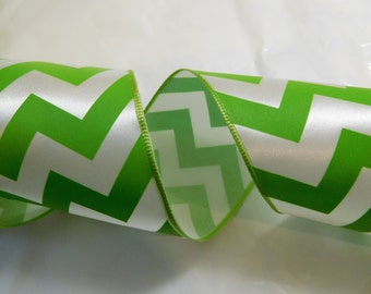 "Offray Wired Ribbon Satin Chevron 2-1/2"" Wide - 5 yards - Citrus - Lime Green and White - Floral - Crafts - Bows"