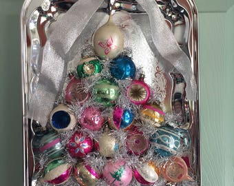 Vintage Ornament Christmas Tree Wreath with Shiny Brites