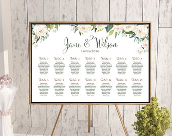 White Flower Printable Custom Wedding Seating Chart, Wedding Seating Poster, Wedding Chart Sign, Wedding Seating Board - TH61 dd WC141
