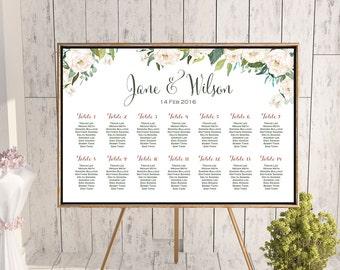 Wedding Seating Chart, White Ivory Flower Printable Custom Wedding Seating Poster, Wedding Chart Sign, Wedding Seating Board - TH61 dd WC141