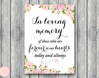Pink Peonies In Loving Memory Wedding Sign, In Loving Memory Sign, In Loving Memory Wedding, Wedding In Memory WD67 TH18