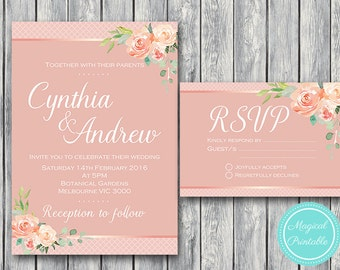 Pink Floral Wedding Invitation Set, Wedding Invitation Printable, Bridal Shower, Baby Shower Invite, Wedding Invitation Suite WD49 WI08