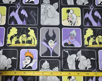 New! 1/2 Yard of Disney Villians - Ursula, Evil Queen, Old Hag, Cruella, Maleficent 100% Cotton Quilt Fabric by Camelot