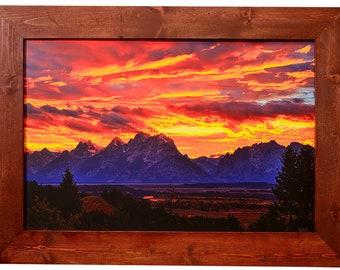 Grand Teton National Park Custom Framed Print of Fire In The Teton Sky With Fiery Teton Sunset, Modern Wall Art For Any Decor, Jackson Hole