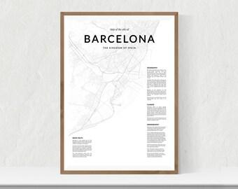 Barcelona map print, City map of Barcelona, Barcelona map wall art, Barcelona wall art, Barcelona poster, Barcelona map poster, city map