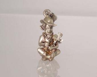 Leprachaun Charm/Pendant| Vintage, Estate| Irish| Lucky| Detailed| St.Patrick's Day| Shamrock| Set in Sterling Silver| ET108