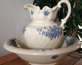 Wash Basin and Pitcher Set, Wash Bowl Pitcher, Farmhouse Decor, Forget Me Not, New Home Gift-Wash Basin and Pitcher/Country Cottage Decor.