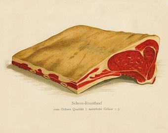 Roastbeef Art Print - Vintage Butcher Diagram Illustration - Kitchen Wall Art - Museum Quality