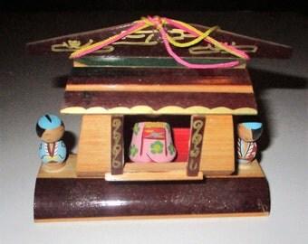 SALE Vintage Japanese Kokeshi Theater Wood Ornament Nodder Bobble Head Dolls Roof Tile Folk Art Novelty