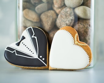 Bride & Groom Wedding Favour Cookies - Wedding Favour Iced Biscuits