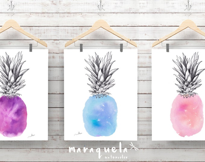 PINEAPPLES SET,violet,blue and pink hues.Watercolor painting and drawings,modern decor,nursery decor,women gifts,home decor for her,ananas