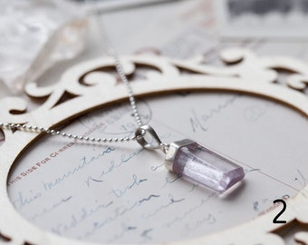 Purple Pink Kunzite Necklace in Silver, Woman's Stone, Rough Crystal Pendant, Choose Your Kunzite, Crystal Point - for Her, byJTSjewelry