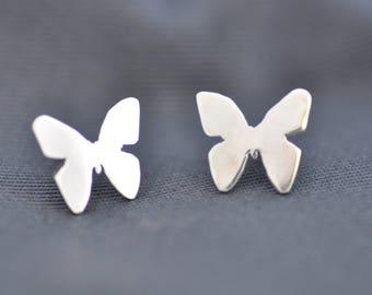 Butterfly stud earrings handmade in sterling silver