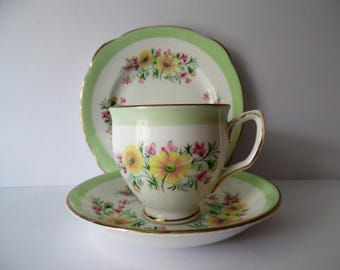 Vintage Bone china Trio. Duchess Floral china Trio Made in England