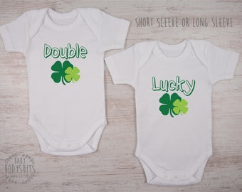St. Patrick's Twin Outfits, DOUBLE LUCKY Set of 2 Matching Bodysuits, Baby's First St. Patrick's Day Outfit, St. Patrick's Day Baby Outfits