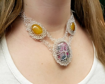 FREE SHIPPING Tree of life wire crochet necklace with genuine gemstones: Agate