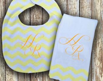 Prissy Monogrammed Baby Bib with matching Burp Cloth Set (Lemon Yellow)