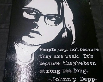 Johnny Depp Hand Painted Canvas with Famous Quote, Johnny Depp Wall Hanging, Johnny Depp, Johnny Depp Quote