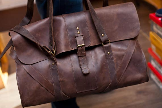 leather duffle bag Leather Travel bag leather gym bag leather