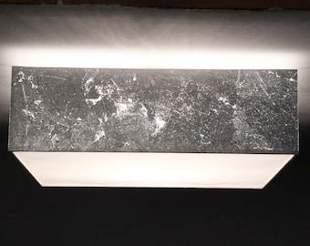 Ceiling lamp 50 x 50 cm, H. 15 cm, silver leaf optics