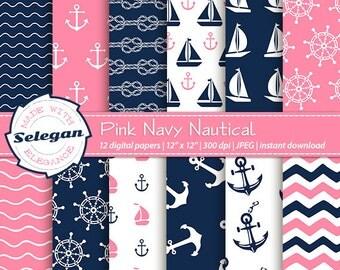 "Pink Navy Digital Paper "" Pink NavyNautical "" nautical patterns digital scrapbook paper DIY printable 12x12 300dpi"