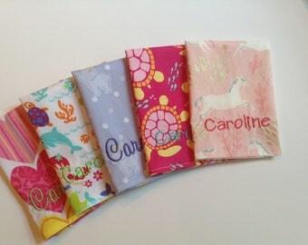 Monogrammed Lunchbox Napkins, Kids Cloth Napkins, Set of 5