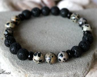 Men's Lava Bracelet, 10 mm Lava Bracelet, Dalmatian Jasper Bracelet, Men's Dalmatian Jasper Bracelet, Jasper Bracelet Men, Men's Wrist Mala