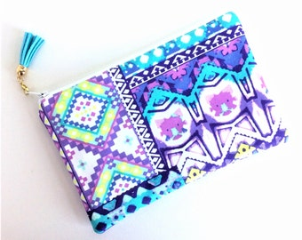 Boho Style - Zipper Pouch - Small Makeup Bag - Cosmetic Bag - Gift for Her - Women's Birthday Gift - Purple Pouch - Pencil Pouch
