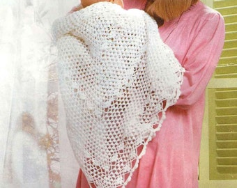Vintage Crochet Pattern pdf~Shawl~Lace Weight~Instant Download