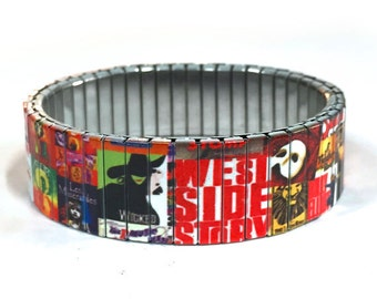 Bracelet BROADWAY, New York jewelry, Stretch Bracelet, Repurpose watch band, Sublimation, Stainless Steel, Wrist Band, gift for friends