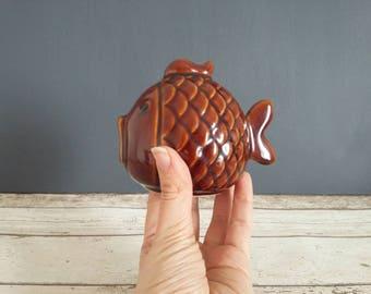 Retro Fish Piggy Bank // Vintage Ceramic Kitsch Bank // 1970s // Retro Money Box
