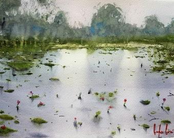 Waterlilies Original Watercolor Painting