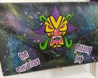 Customized decoupage style and hand painted juggalo cross over purss