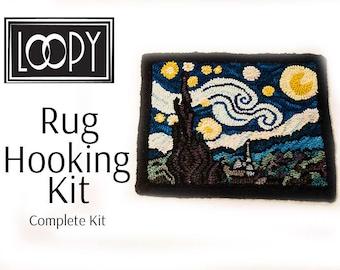 Rug Hooking Kit - Van Gogh's Starry Night, Complete rug hooking kit, DIY craft, craft kit for adults, rug hooking, fiber art