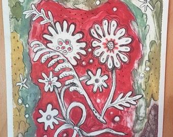 Folk Flowers {monoprint}