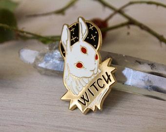 Hard Enamel Black and White Witch Pin Set