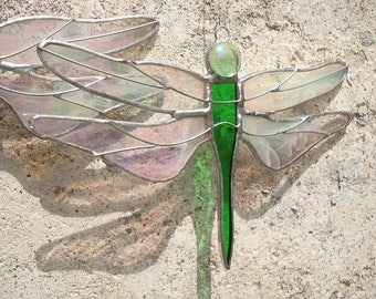 Green Dragonfly, Stained Glass Dragonfly, Glass Dragonfly, Dragonfly Suncatcher, Dragonfly Glass, Interior Decor, Window Art, Green Glass