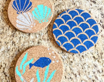Sea life cork board set of 3