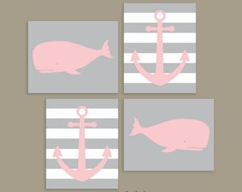 CANVAS Whale Wall Decor - Pink and Gray Whales - Nautical Wall Art - Ocean Theme Bedroom - Sea Theme Kids Room - Whales Anchors Art for Kids