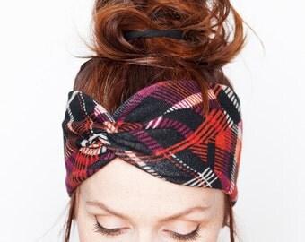 Red Tartan Knit Headband - Knit Headband Red Orange Black Turban Scottish Checks Headband Warm Wear Winter Accessories Etsy Finds Christmas