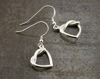 Love Heart 925 Sterling silver earrings, valentines day gift
