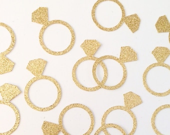 Gold engagement ring confetti, engagement party, bride to be, bridal shower, engagement decor, wedding decor- 1 inch tall ring confetti