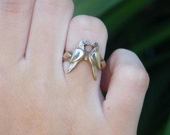 Cadeau de Saint-Valentin Bague en bronze doré massif sculpté à la main Love birds, Amour, fiançailles, anniversaire, couple