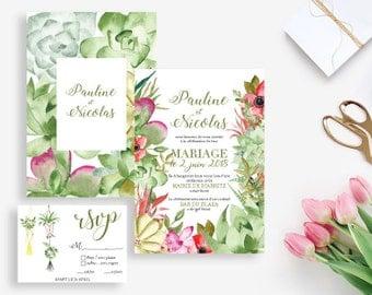 Printable Wedding invitation - Succulents Wedding invitation - Watercolor invitation - Wedding DIY - Boho wedding Palm Springs - Cactus