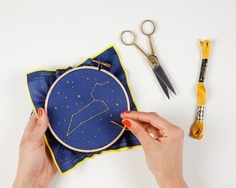 Gemini Zodiac Embroidery Kit - DIY, Constellation Embroidery Kit, Birthday Gift, Personalized Gift