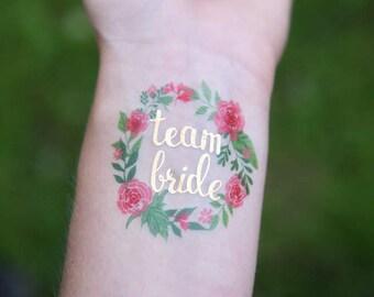 Team Bride + Bride, 11 Temporary Tattoos, Gold Tattoo, Wedding, Bachelorette, Bachelorette Party, Temp Tattoo, Bride, Metallic, hand drawn