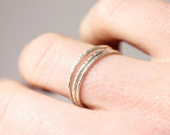 Delicate sterling silver stacking rings, organic, eco friendly, woodland, textured ring, thin silver band, minimal jewelry, stack ring